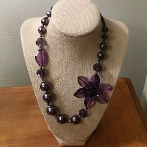 Jewelry - Purple Flower & Beads Statement Necklace